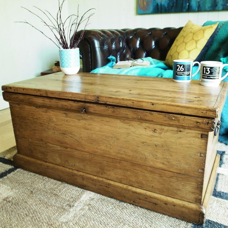 Trunk Coffee Table Pine: VINTAGE TRUNK Storage Chest VICTORIAN TOOL CHEST Pine