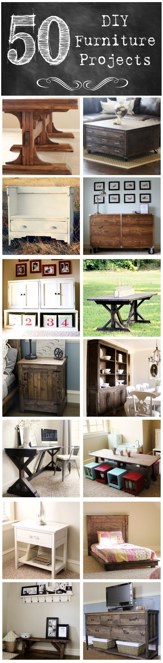 #50 DIY Furniture Projects! Build your own furniture and save a TON of money! Including 4 Farmhouse Tables! Each has own Tutorial !