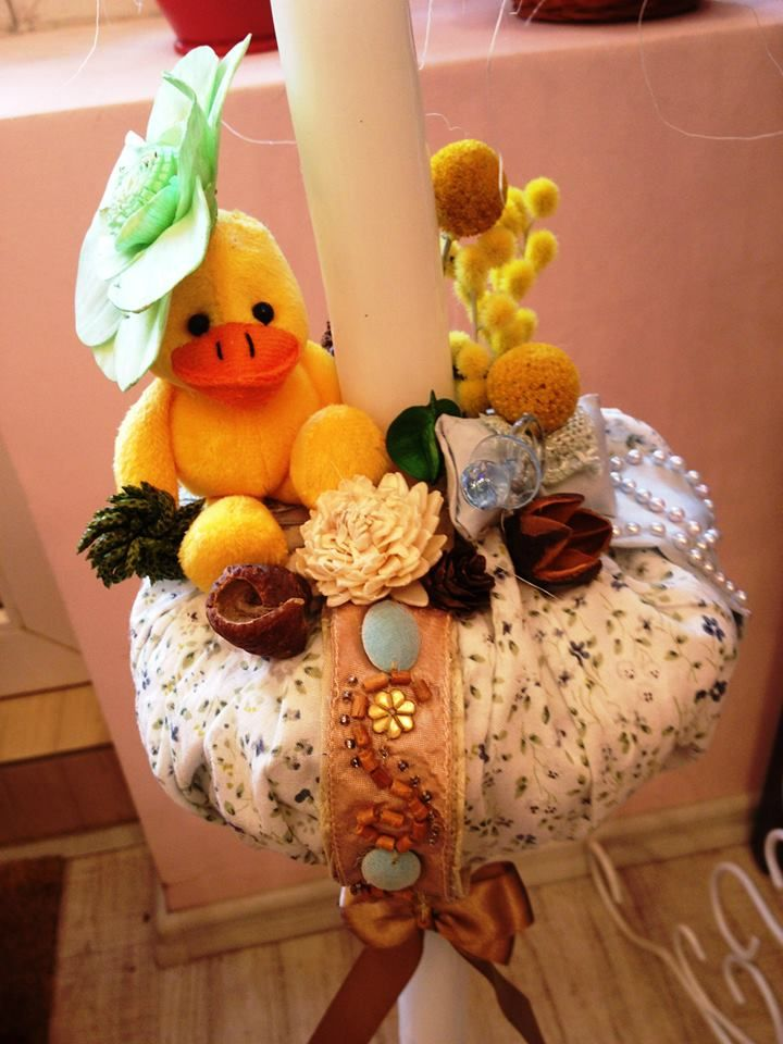 Christening candle for a baby girl #duck #flowers #handmade by Atelier Floristic Aleksandra