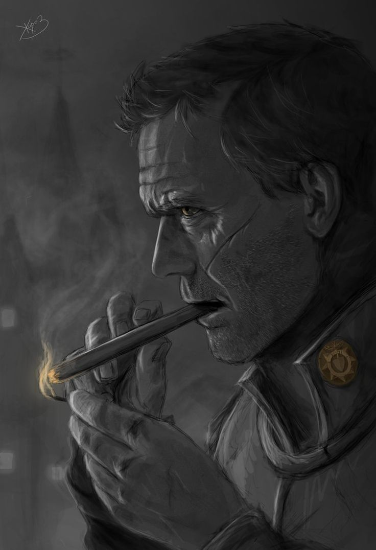 """Sam Vimes from """"Discworld"""" (by Zhorez1321 on DeviantArt) Here's to bad-a$$ed upright citizenship. Whatever it is, he's going to do it the hard way and it's going to be hilarious and grudgingly inspiring. His desk looks like my desk."""