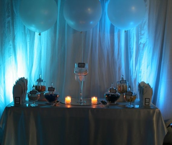 Lolly buffet with lights and Round 50cm white balloons http://thecompletekidsparty.com.au/lolly-buffet/