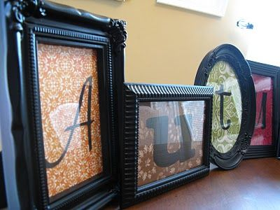 Spray painted Dollar Tree Frames with scrapbook paper to spell a word. Great idea!!!