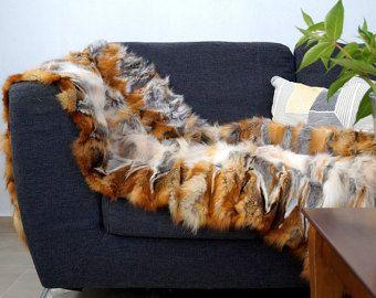 Red Fox Blanket, real fox, real fox throw , fur rug!