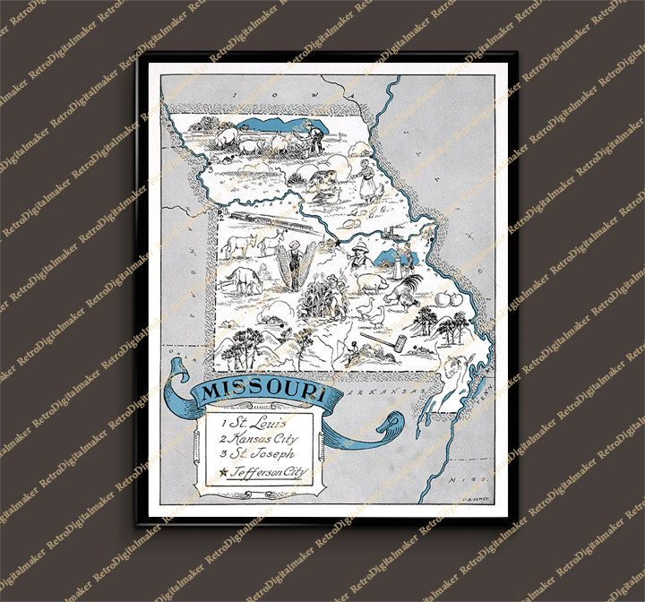 Map Of Oregon Deserts%0A Missouri MO United States whimsical map by Retrodigitalmaker