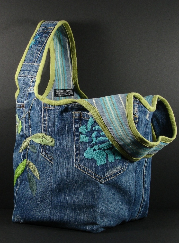 hobo tote bag from recycled Blue Jean denim with flowers. $62.00, via Etsy.