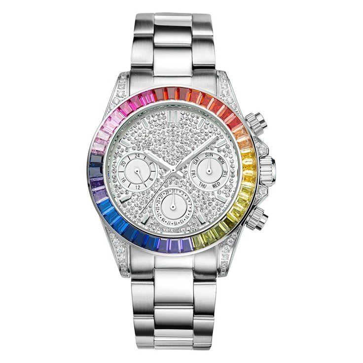 Лучшие женщины Золото Серебро часы из нержавеющей стали Календарь кристалл часы Мода кварцевые наручные часы Davena 60638 3 АТМ водонепроницаемый купить на AliExpress
