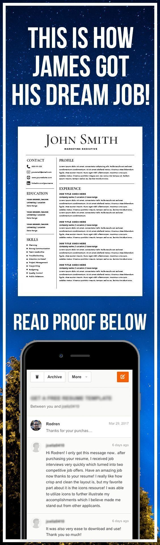 HOW TO GET YOUR DREAM JOB - Resume Template - CV Template - Free Cover Letter - MS Word on Mac / PC - Design - Professional - Best Resume Templates - Instant Download