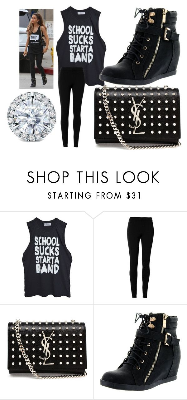 street style monochrome inspired by Ariana Grande by pepito-sutrisno on Polyvore featuring High Heels Suicide, Max Studio, Top Moda, Yves Saint Laurent and Kobelli
