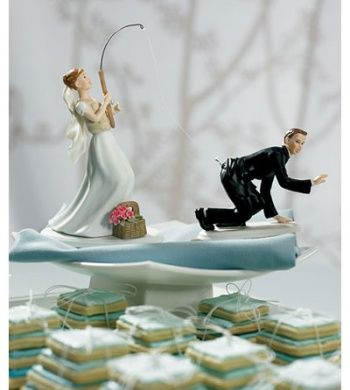 Gone Fishing Wedding Cake Toppers Bride And Groom Set