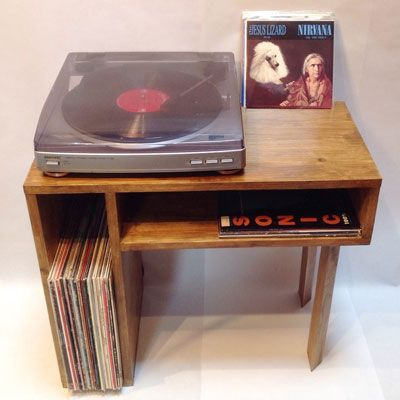 Handmade wooden record player tables by Vintage House Coruna