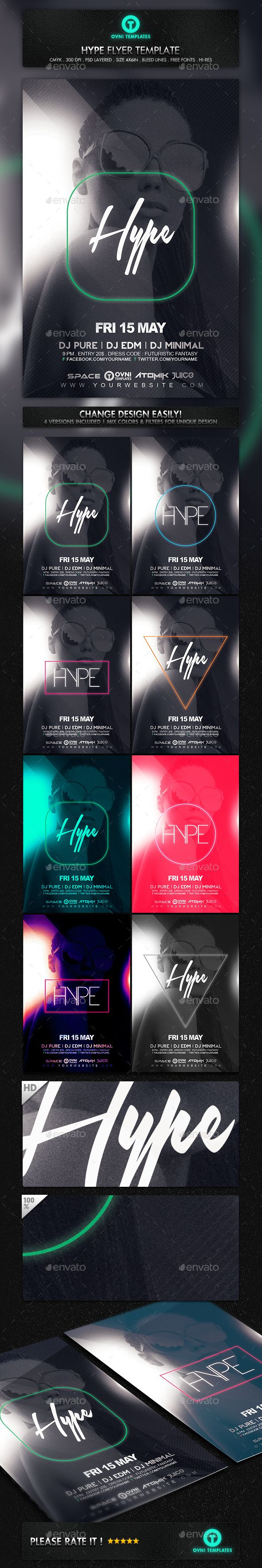 Hype Minimal Style Futuristic Girl Flyer Template  #woman #$6