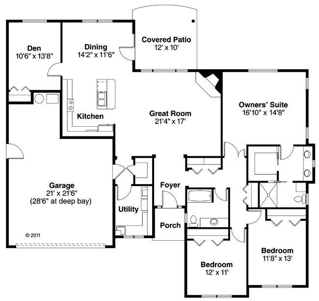 House Plan 035 00571 Ranch Plan 2 066 Square Feet 3 Bedrooms 3 Bathrooms Home Design Floor Plans Minecraft House Plans House Blueprints
