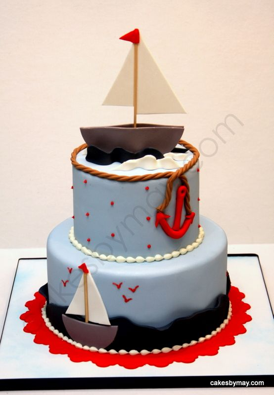 Sailboat Nautical Baby Shower Cake