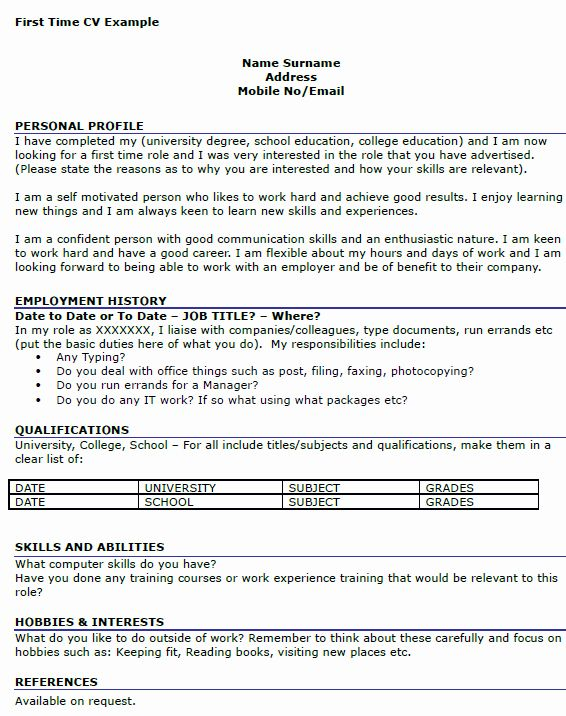 First Time Job Resume Beautiful First Time Job Cv Example Icover Job Resume Template Job Resume Job Resume Samples
