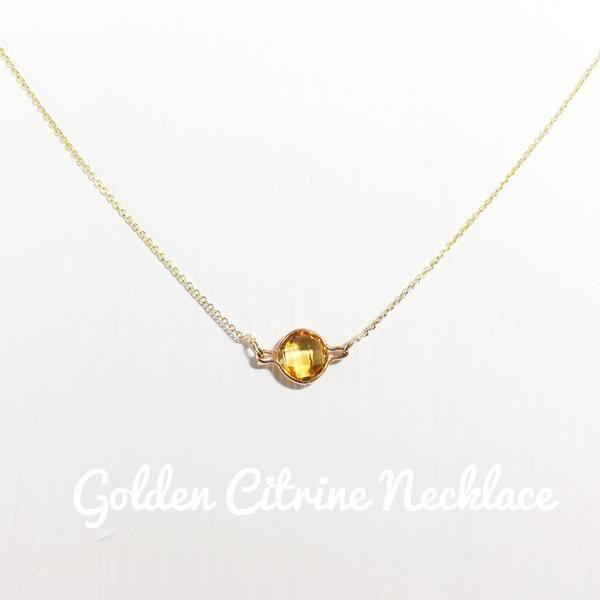 Golden Citrine Necklace - 9Kart Gold