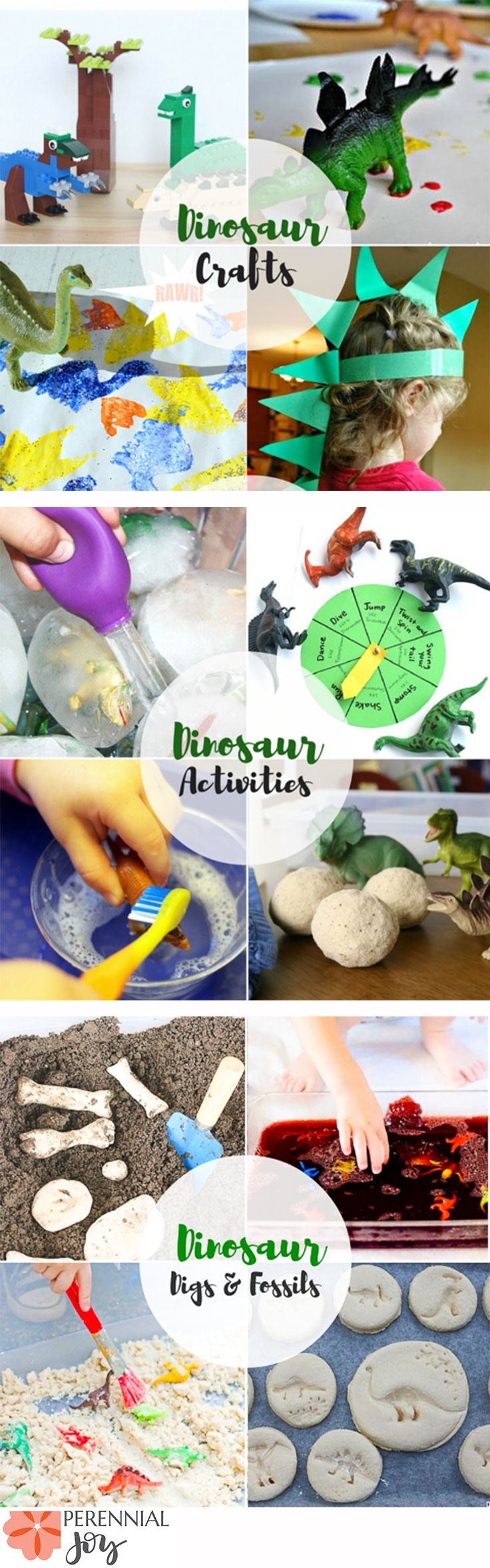 Dinosaur Toddler Activity Roundup! 12 activities to do with your dino loving child. Use them for birthday parties, learning archaeology in homeschool, or fun sensory crafts to do with your child. www.perennialjoy.com