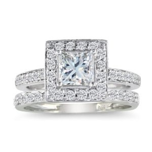 Princess Cut 1ct Diamond Bridal Set in 14k White Gold, Available Ring Sizes 4-9, Ring Size 4.5 --- http://www.pinterest.com.welik.es/2f4
