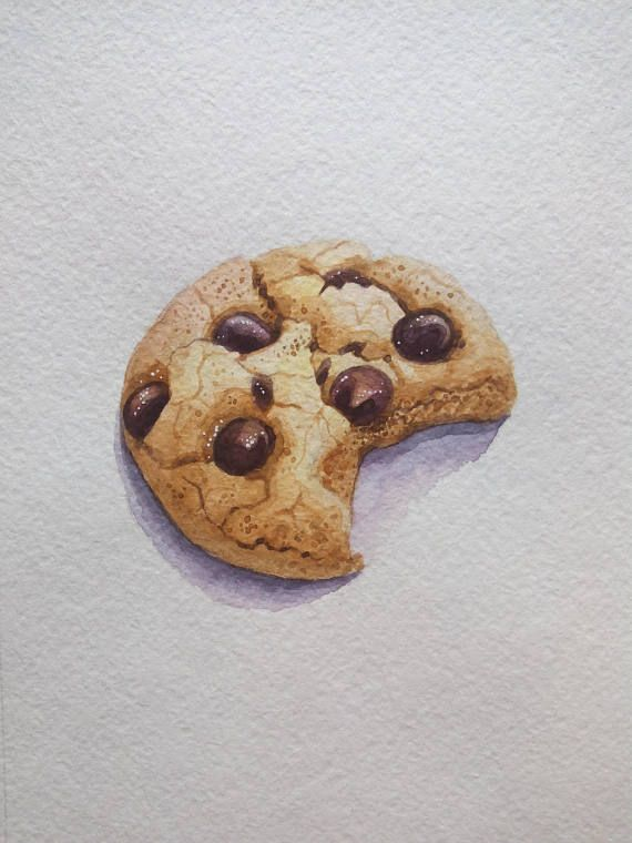 Chocolate Chip Cookie Illustration Food Painting Original Watercolor 5x7 Small Painting Dessert Ilustration