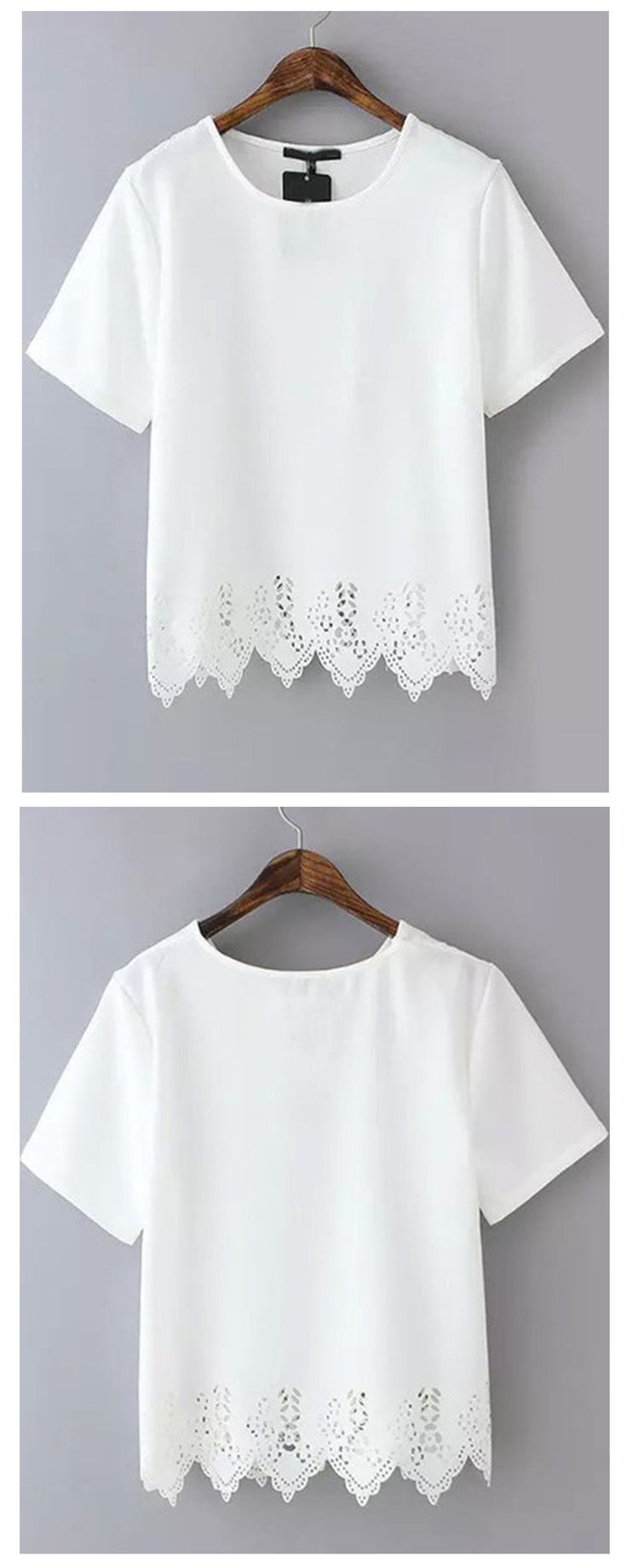 Chiffon T-Shirt with beautiful lace hem. Chiffon material is super soft for hot summer. Come for up to 60% off!