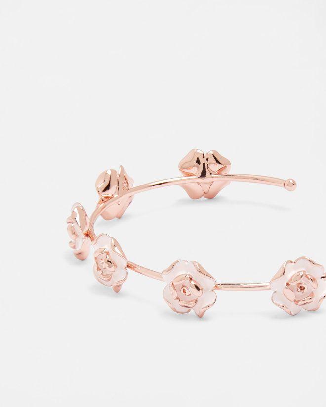 Enamel rose fine cut cuff - Baby Pink | Jewellery | Ted Baker UK