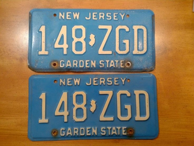 NJ License Plate 1980s Buff on Blue 148 ZGD New Jersey Auto Tag Vintage