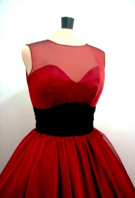 A 50s inspired ruby red chiffon rock ability Cocktail dress, With sweetheart neckline by elegance50s on Etsy https://www.etsy.com/listing/84405408/a-50s-inspired-ruby-red-chiffon-rock