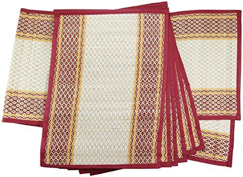Today OFF   Set Of 6 Place Mats + Table Runner For Dining Table    Reversible Straws U0026 Threads Woven Table Mats For Kitchen Table Décor And  Decorations