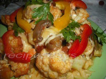 капуста с сыром и грибами