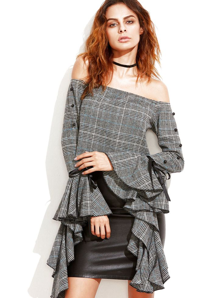 Grey Bardot Off The Shoulder Dramatic Ruffle Bell Long Sleeve Tweed Top Size S $50.0