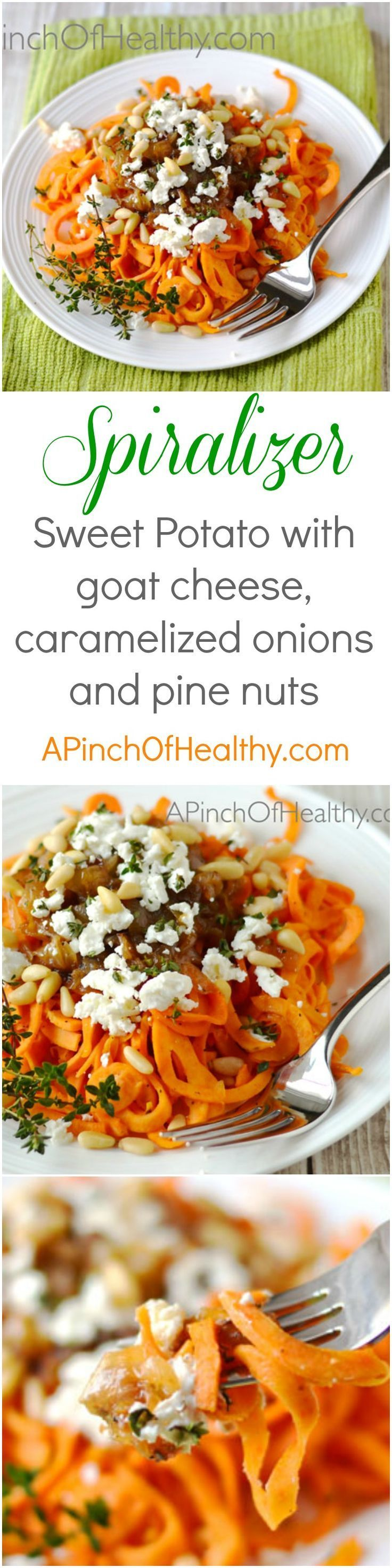This spiralizer sweet potato with caramelized onion, goat cheese and pine nuts makes a killer side dish or vegetarian main dish that will knock your socks off.