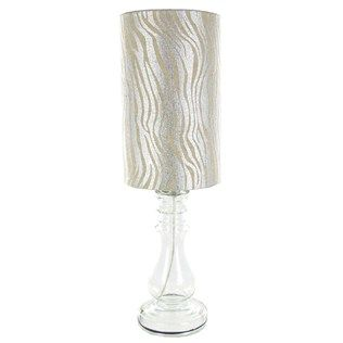 """20"""" Small Clear Glass Lamp with Silver Zebra Shade 