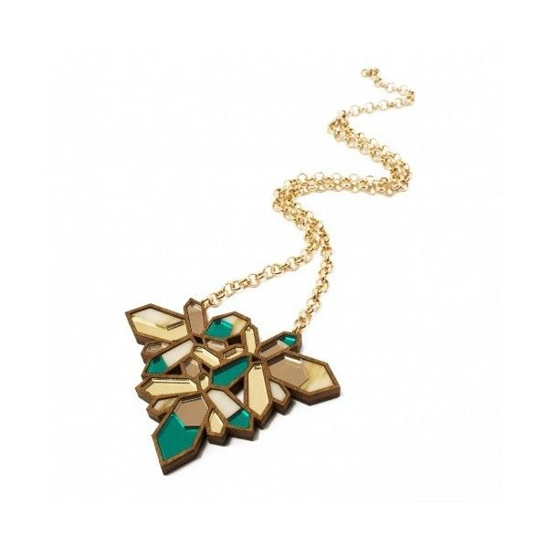 Wolf & Moon: Teal Crystallized Necklace - Tresor Maison found on Polyvore