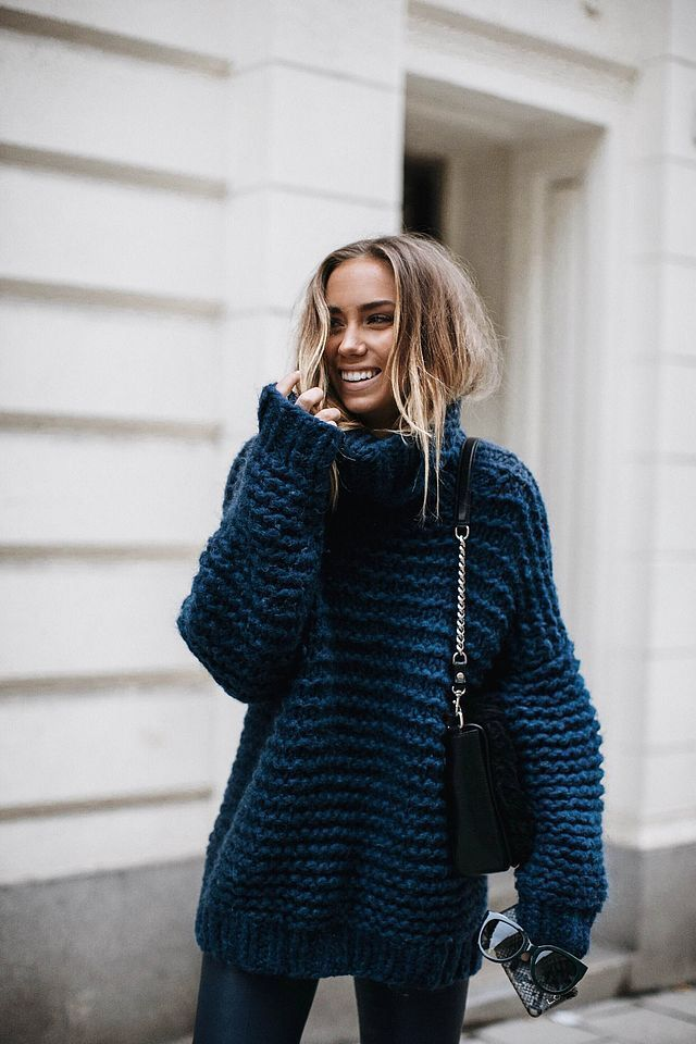 blue chunky knit #fallstyle