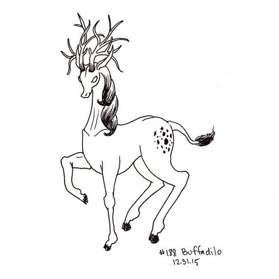 I made up this word and so made up the creature, a sleek deer-like animal with huge glorious antlers.  This drawing is part of my daily