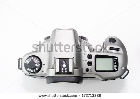 Top of Film SLR Camera - stock photo
