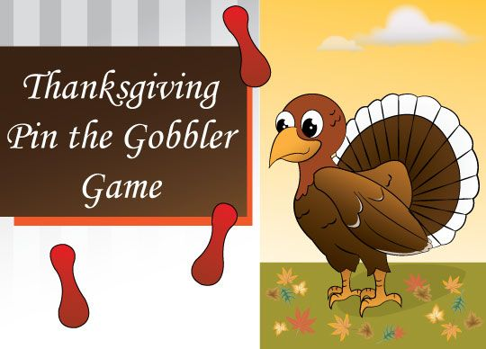 Thanksgiving Game - Pin the Gobbler: Printable