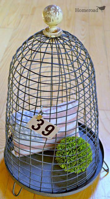 Junked up Wire Cloche  http://www.homeroad.net/2013/08/wire-cloche.html http://www.homeroad.net