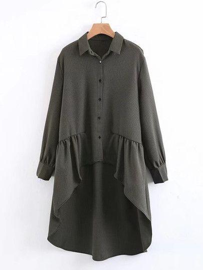 Модная асимметричная блуза с оборкой