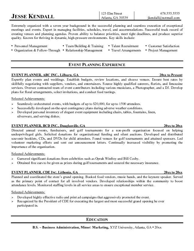 event planner resume example professional life resumes pinterest resume examples planners and business