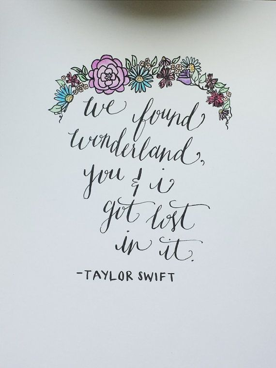 "Taylor Swift ""Wonderland"" Lyrics Quote Handwritten Calligraphy Print"