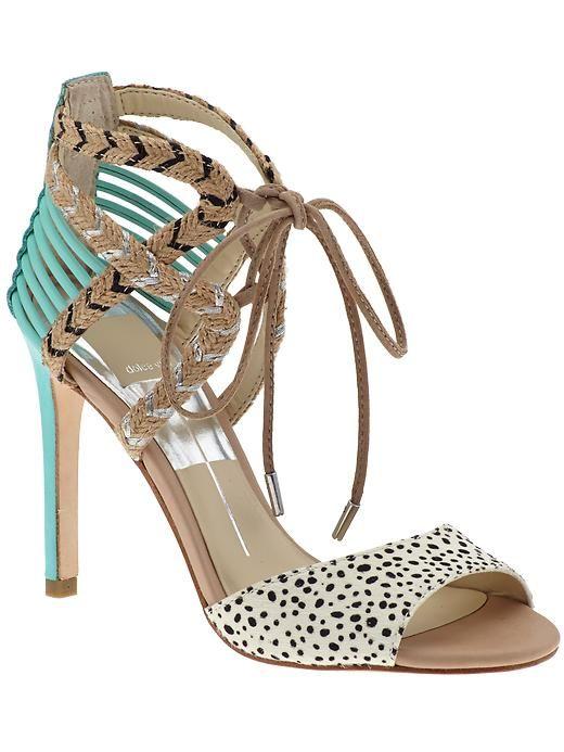 Mint & Animal Print Strappy High Heel Sandal