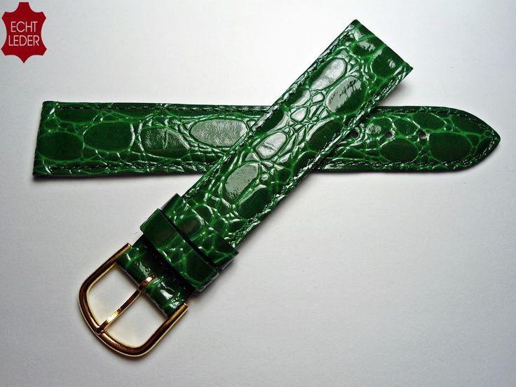 Uhrenarmband Kroko-Prägung Leder Uhr Armband Watch Strap Leather grün 18 mm Neu