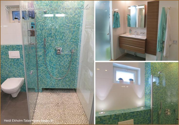 Värikäs kylpyhuone, jonka innoittajana välimeren turkoosit sävyt. Laatat ja kalusteet Laattapisteestä.