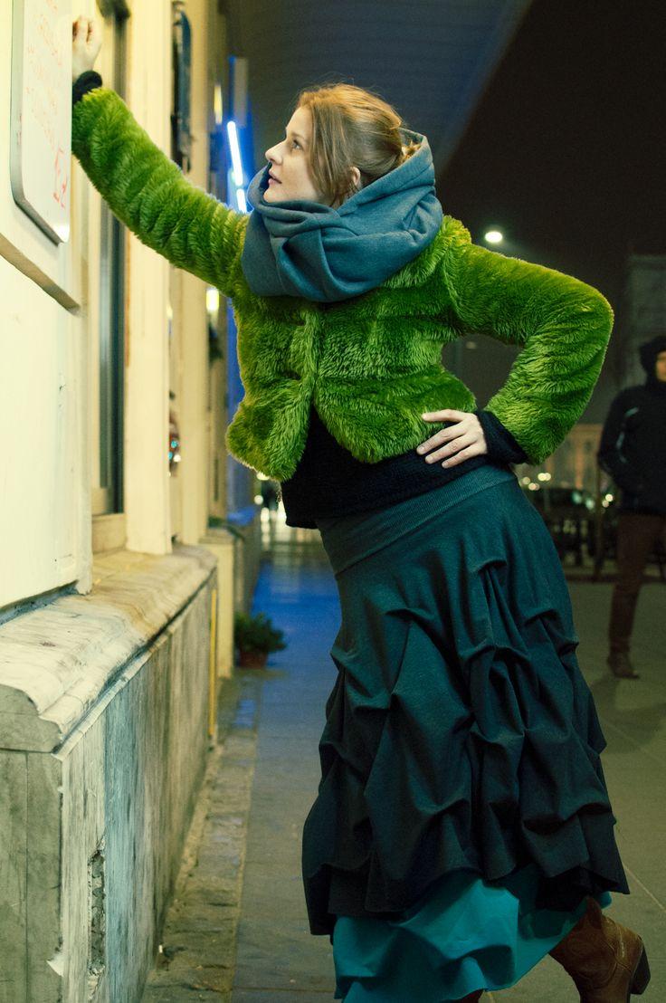 Marta Ścisłowicz wearing dark hood and double-mousse skirt by Polish Rascal.