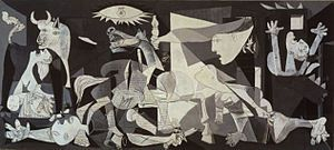 "Arguably Picasso's most famous work is his depiction of the German bombing of Guernica during the Spanish Civil War—Guernica. This large canvas embodies for many the inhumanity, brutality and hopelessness of war. Asked to explain its symbolism, Picasso said, ""It isn't up to the painter to define the symbols. Otherwise it would be better if he wrote them out in so many words! The public who look at the picture must interpret the symbols as they understand them."""