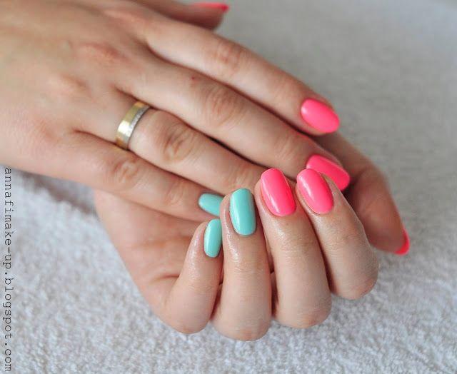 mietowy kolor na paznokciach,  semilac, Shellac, manicure hybrydowy,