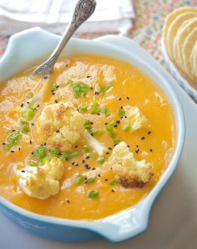 Sweet Potato Cauliflower Soup - Yummi Recipes. This one has the appropriate link for the recipe