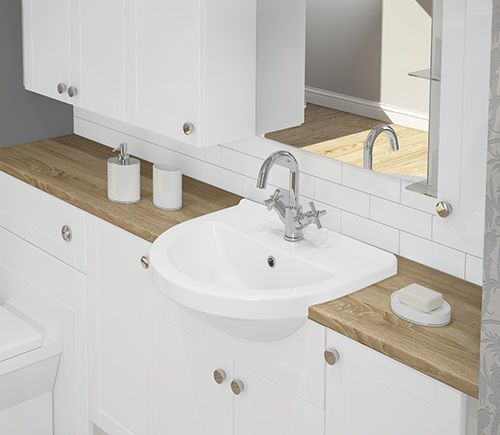 Banbury - Complement this elegant finish with a contrasting Dune woodgrain countertop.