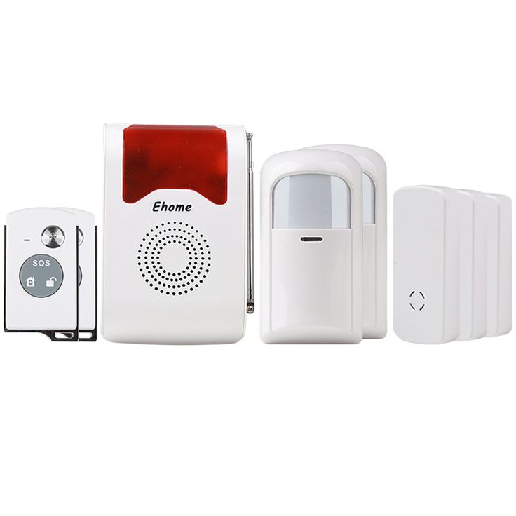 Ehome Wireless Acousto-optic Home Security Alarm System, 2pcs Wireless PIR Motion Infrared Detector + 3 pairs Door Alarm Sensor Anti-Theft SOS System with 2pcs Remote Controller