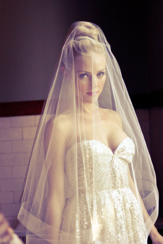 Drop Wedding Veil with 2 Thick Horsehair Border by veiledbeauty